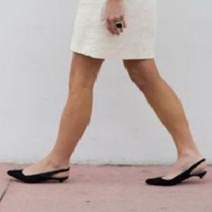 Merona Black Kitten Heel Mule With Strap Size 8